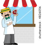 a butcher standing in front of...   Shutterstock .eps vector #4826056
