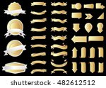 ribbon vector icon gold color... | Shutterstock .eps vector #482612512