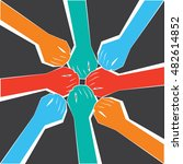 a circle of people united for a ... | Shutterstock .eps vector #482614852