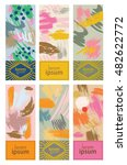set of colorful cards with... | Shutterstock .eps vector #482622772