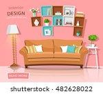 living room interior design... | Shutterstock .eps vector #482628022