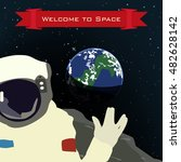 astronaut in outer space  ... | Shutterstock .eps vector #482628142