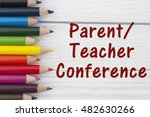 pencil crayons with text parent ... | Shutterstock . vector #482630266