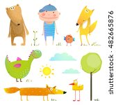 collection cartoon animals and... | Shutterstock . vector #482665876