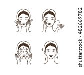 steps how to apply facial cream.... | Shutterstock .eps vector #482669782