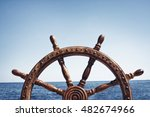 old vintage wooden helm wheel | Shutterstock . vector #482674966