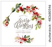 christmas card. watercolor... | Shutterstock . vector #482680546