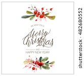 christmas card. watercolor... | Shutterstock . vector #482680552