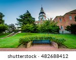 bench and the maryland state... | Shutterstock . vector #482688412
