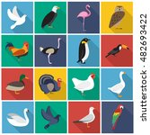 birds flat icon set. you can be ...