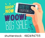 wow big sale banner template.... | Shutterstock .eps vector #482696755