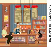 people sit at the bar and drink ... | Shutterstock .eps vector #482702176