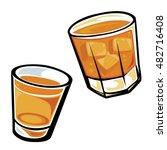 whiskey drinks   tumbler and... | Shutterstock .eps vector #482716408