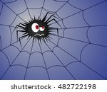 angry spider on the cobweb with ... | Shutterstock .eps vector #482722198
