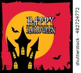 vector happy halloween card... | Shutterstock .eps vector #482724772