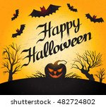 happy halloween  card with... | Shutterstock .eps vector #482724802
