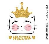 cute hand drawn cat vector... | Shutterstock .eps vector #482728465