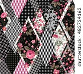 decorative floral patchwork... | Shutterstock .eps vector #482734162