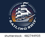 sailing ship illustration on... | Shutterstock .eps vector #482744935