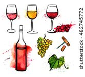 a set of vector and watercolor... | Shutterstock .eps vector #482745772