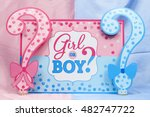 Small photo of A girl or boy sign with question marks for a gender reveal party