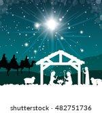 silhouette manger merry... | Shutterstock .eps vector #482751736