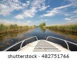 boat in danube delta  romania. | Shutterstock . vector #482751766