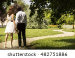 couple holding hands on park... | Shutterstock . vector #482751886