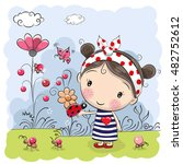 cute cartoon girl with ladybug... | Shutterstock .eps vector #482752612