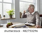 senior adult reading book... | Shutterstock . vector #482753296