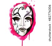 ink illustrated venice mask .... | Shutterstock . vector #482776306