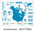 usa and canada map with...