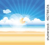 on the beach background vector... | Shutterstock .eps vector #482788156
