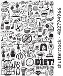 diet   raw food   doodles set | Shutterstock .eps vector #482794966