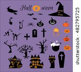 halloween flat icons design.   | Shutterstock .eps vector #482795725