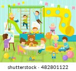 kids playroom kindergarten with ... | Shutterstock .eps vector #482801122