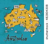 drawing australia vector map.... | Shutterstock .eps vector #482804308