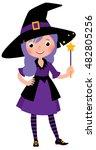 girl in costume halloween witch ...   Shutterstock .eps vector #482805256