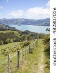 Small photo of The path leading down to Akaroa resort town (New Zealand).