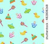 kids toys. seamless pattern.... | Shutterstock .eps vector #482808268