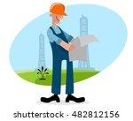 vector illustration of a oilman ... | Shutterstock .eps vector #482812156