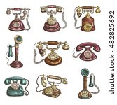 Old Vintage Retro Phones With...