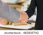 bank employees handshake with... | Shutterstock . vector #482835742