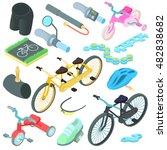 cartoon biking icons set....
