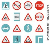 flat road sign icons set....