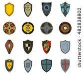 flat shield icons set....
