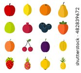 flat fruit icons set. universal ...