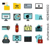 flat cyber fraud icons set....