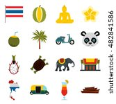 flat thailand icons set....