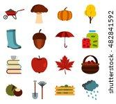 flat autumn icons set....
